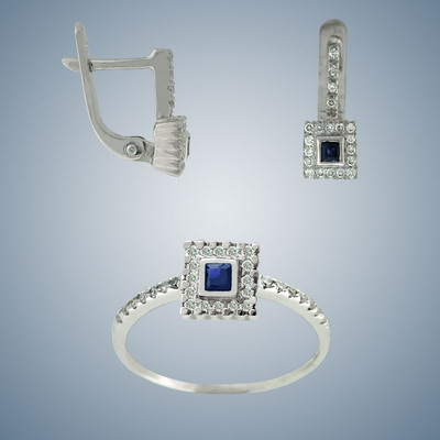 Set ring and earrings with diamonds and sapphires