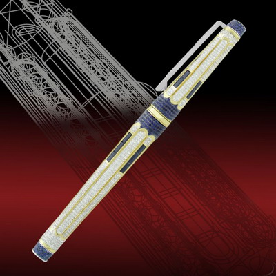 Gold pen 18 carat with diamonds and sapphires