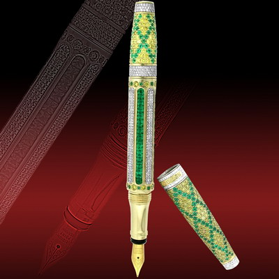 Gold pen 18 carat with white and yellow diamonds and emeralds