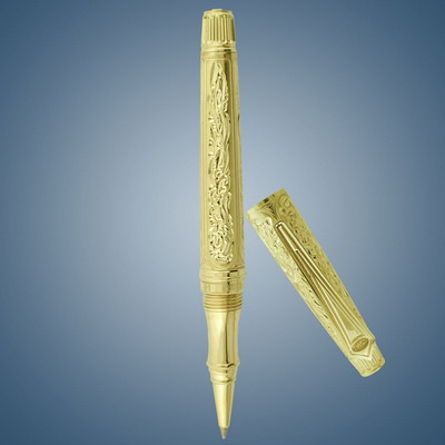 Gold pen with diamonds graving with diamonds