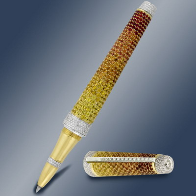 Golden pen 18 karat with diamonds and color sapphires
