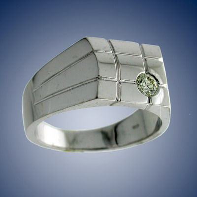 Man`s finger ring with diamond