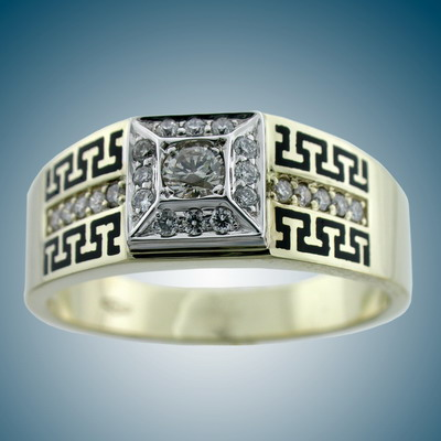 Man`s ring with enamel and diamonds