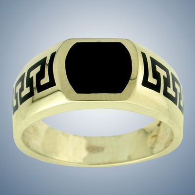 Man`s finger ring with enamel