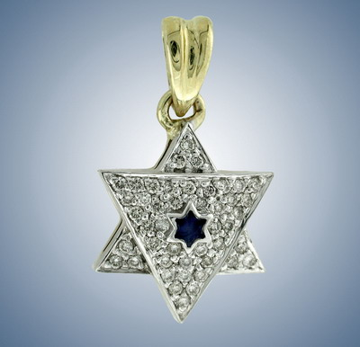Кулон Маген Давид с эмалью и бриллиантами