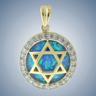 Pendant-Magen David with diamonds and opal