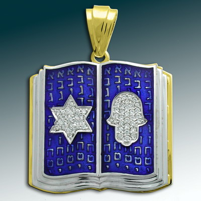 Golden pendant Judaica  with enamel and diamohds