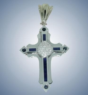 Крест с бриллиантами,сапфирами и эмалью