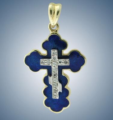 Крест с бриллиантами и эмалью