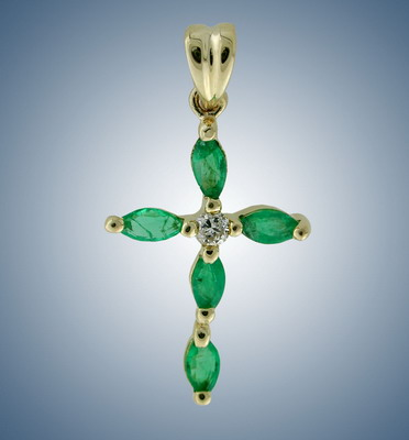 Cross with diamonds and emeralds