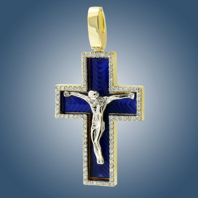 Cross with diamonds and enamel
