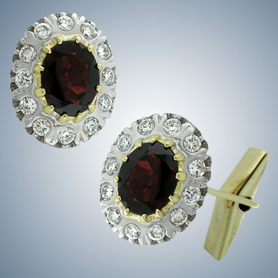 Cuff links with diamonds and garnets