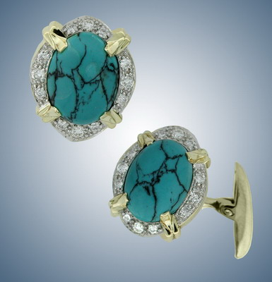 Cuff links with diamonds and turquoises