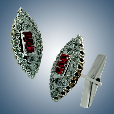 cuff links with diamonds and ruby