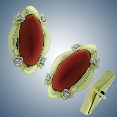 Cuff links with diamonds and coral