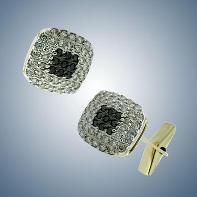 Запонки с белыми и черными бриллиантами