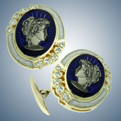 Cuff links with diamonds and enamel